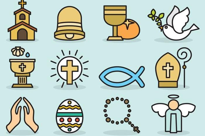 Various illustrations of Catholic icons