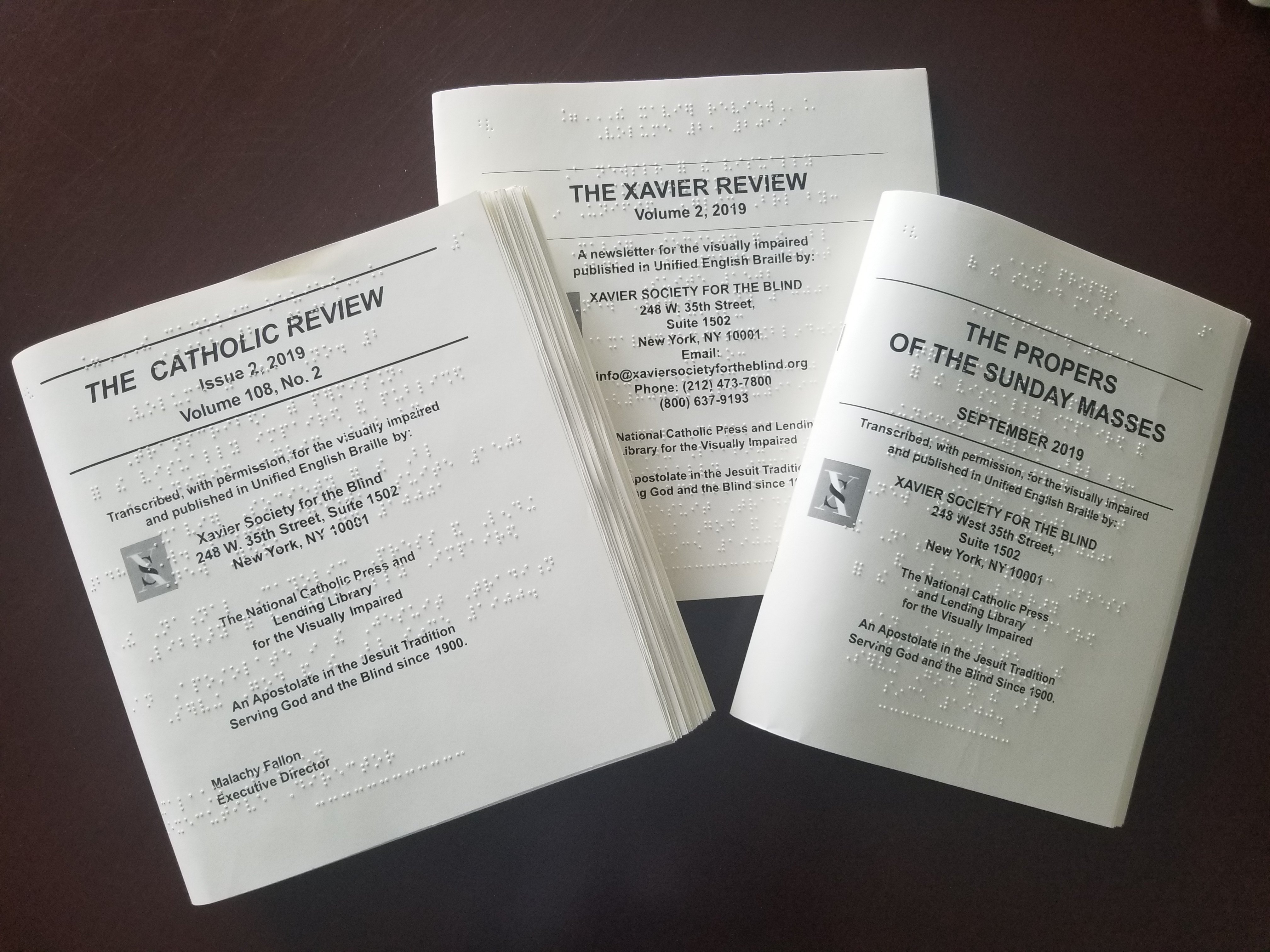 Examples of the braille Mass Propers, Catholic Review and Xavier Review
